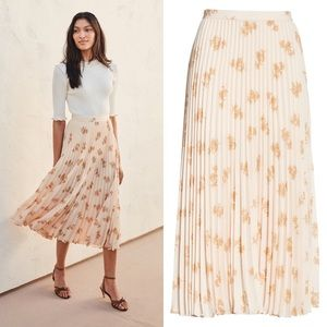 joie // adeena floral pleated midi skirt